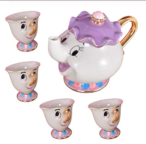 Cartoon Beauty And The Beast Tea Set Mrs Potts Chip Cup Set Sugar Bowl Mug Valentine's Day Gift A