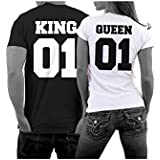 ILOVEDIY 1PCS Couple T-shirt Queen et King Lettre Lovers Vetement Col Rond