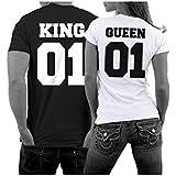 ILOVEDIY 1PCS Couple T-shirt Queen et King Lettre Lovers Vetement Col Rond