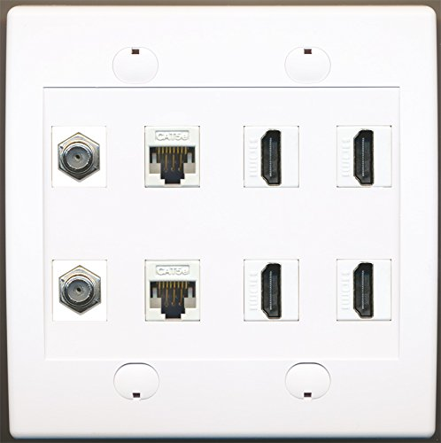 RiteAV 2 Port Koax-Kabel-TV F-2 CAT5e Ethernet und 4 HDMI Wall Plate