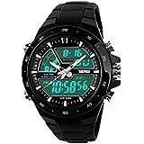 SKMEI 5ATM Fashion Waterproof Men LCD Digital Stopwatch Chronograph Date Alarm Casual Sports Wrist Watch 2 Time Zone