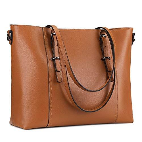 S-ZONE Damen Leder-Laptop-Tasche Geschäfts Tote-Schulter-Beutel-Geldbeutel Verbesserte Version 2.0 groß Braun -