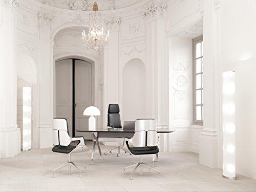 Interstuhl Chefzimmer-Gruppe Tisch Silver 890S + 1 Sessel 362S + 2 Sessel 151S Leder Ascot schwarz, Aluminium silber gebürstet