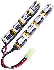 Keenstone Airsoft Mini batterie NiMH 9,6 V 1600 mAh Nunchuk bâton pour fusil à air comprimé ICS CA TM SRC JG G36 G&M733 etc + mini connecteur Tamiya de haute décharge