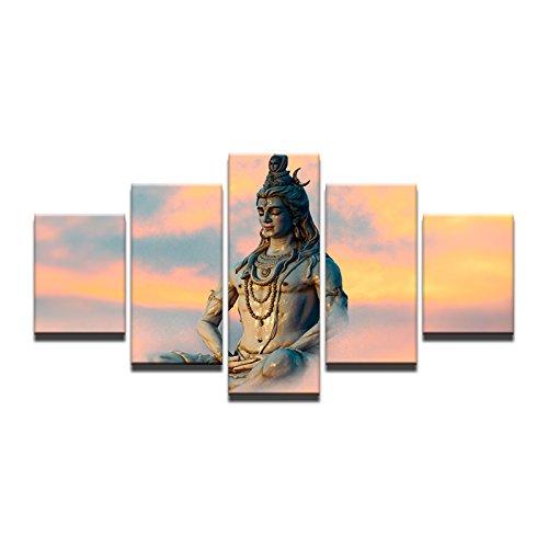 HOMOPK 5 Stücke Malerei Modulare Tapete HD Druck Auf Leinwand Wandkunst Wasserdicht Poster Bad Wohnzimmer Wohnkultur Bild Große Indien-Gottheiten Gott Shiva A,Rahmen