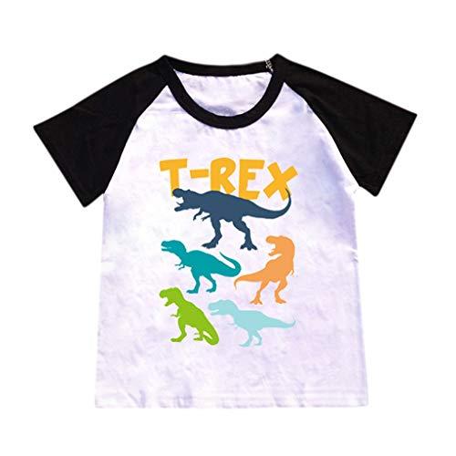 JUTOO Kinderbaby-Karikatur-heiße Art-Dinosaurier-Muster-Buchstabe-Druck-T-Shirt, das Hemd übersteigt (Schwarz 2,M) (Dinosaurier Kostüm Dan)