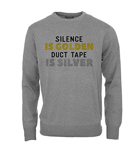 RiotBunny Silence is Golden Duct Tape is Silver Komisch Cool Herren Sweatshirt Pullover Grau XX-Large (Fashion Tape Cool Duct)
