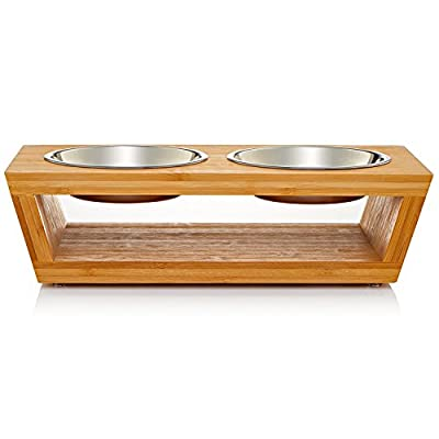 Migosset Pet Feeder - Elevated Bamboo Bowl Holder for Medium, Larger Breed Dogs - Wooden Raised Feeding Station - With 4 Stainless Steel Bowls from Migosset