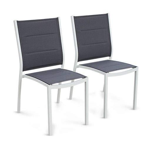 Alice's Garden Lot de 2 fauteuils Chicago - Aluminium Blanc et textilène Gris foncé