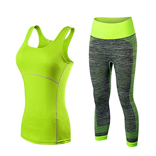 Hot Quick Dry Sportswear Gym Leggings Damen T-Shirt Kostüm Fitness Strumpfhose Sportanzug Top Yoga Set Green2001Bgreen5081 M