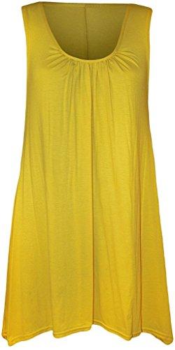 Islander Fashions Damen Top Ärmellos Dehnbar Gerafft Rundhalsausschnitt Unebener Saum Langes Oberteil T-Shirt Übergröße - Gelb, Größe 3X- groß (T-shirt Großes 3x)