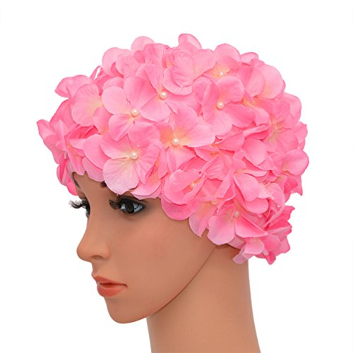Medifier vintage floreale petalo retro swim bathing caps per donne, pink