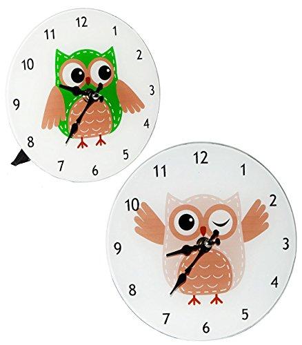 Wanduhr / Tischuhr / Standuhr - aus Glas - lustige Eule - 18 cm Uhr - groß - für Kinderzimmer Kinderuhr - Analog - leise - fast lautlos / Mädchen Jungen - Kinder / Erwachsene - Eulen Blätter Glasuhr modern - Design
