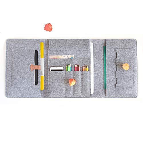 Lucky Sign - Multifunktionale Laptop- und MacBook Pro 15 Filztasche Notizblocketui - Grau