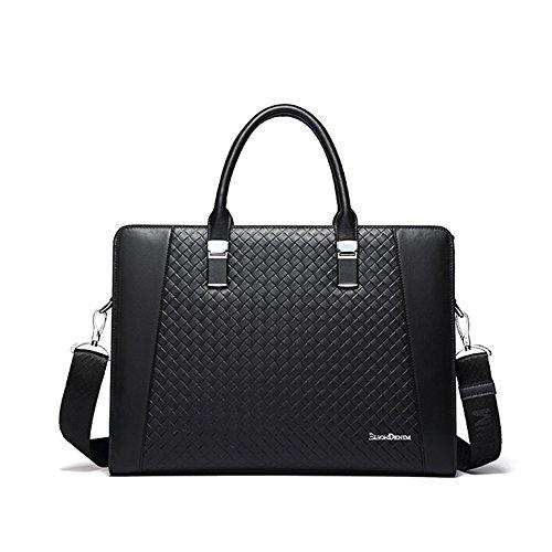 BINSON DENIM Herren Leder Aktentasche Herren Handtaschen Herren Umhängetasche Herren Laptop Tasche Hohe Qualität N2352 (Kaffee) Schwarz
