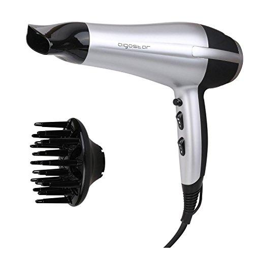 Einstellung Haartrockner (Aigostar Daphne 32GPO - Professioneller Haartrockner, silber und schwarz mit Diffusor und Zubehör. 2200 Watt. Exklusives Design von Aigostar.)