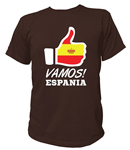 Artdiktat Herren T-Shirt - Like WM 18 - Vamos Espania - Russia Russland Größe M, Braun