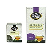 Classic & Jasmine Green Tea Combo Pack of 2 Blends of DARJEELING & Assam Green Tea Naturally Healthy Tea Leaves with NO Added PRESEVATIVES NO Artificial Flavour