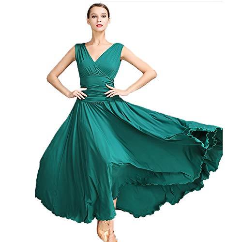 Ballsaal Tanz Größe Plus Kostüm - Liu Sensen Frauen Classic Dance Rock Latin Dance Bauchtanz Kostüme Deep V-Neck Grüner Milch Faser Ballsaal Tanz Plus Größe XL 2XL Prom Dress,S