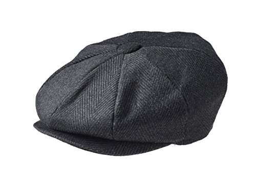 "rmütze, ""Newsboy""-Stil, 100% Wolle, 8 Stoffstücke Gr. X-L (61 cm), Black Pinstripe ()"