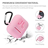 ICETEK AirPods Case Cover, Silicone AirPods Case Protective 7 In 1 AirPods Accessories Set with Clip Holder/Keychain/Strap/Ear hooks/Soft Storage Bag for Apple Airpod (4-Pink)
