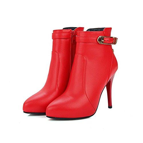 VogueZone009 Damen Reißverschluss Stiletto Rein Metall Nägel Stiefel Rot