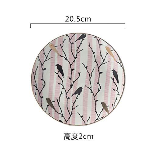 Creative home disc neue vogel muster teller geschirr keramikteller tägliche keramik frühstück teller 20,5x2 cm (Geschirr Vogel Muster,)