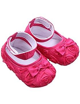 Zapatos - SODIAL(R)zapatos comodos de nino pequeno de princesa antideslizantes(6-12 meses, rojo de rosa)
