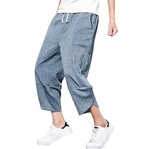 T.boys Herren 3/4 Leinen Bermuda Kurze Hose Sweat Outdoor komfortable Kurze Hose mit Loser Passform Drawstring Jersey Sweatshirt