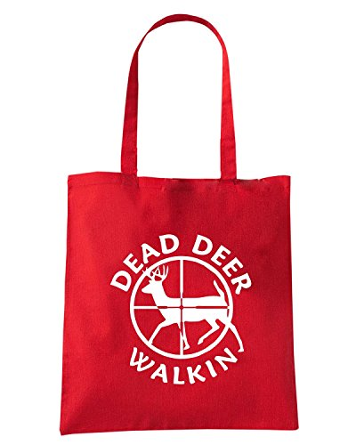 T-Shirtshock - Borsa Shopping FUN1156 dead deer walkin vinyl hunting car decal 85347 Rosso