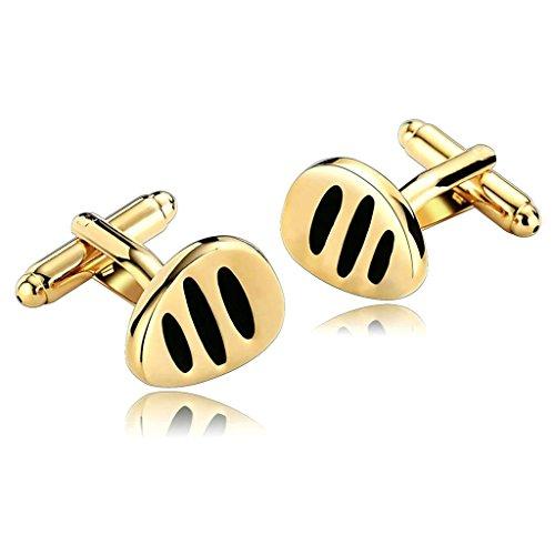 Uomo Gemelli Acciaio Inossidabile Oro Nero Carved Strisce Drop Gemelli per Uomini per (Oro A Strisce Cravatta)