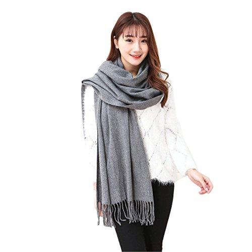 Butterme Solid Color Mode lange Schal Damen Winter Warmer Kaschmir Spüren Große Schal (Grau)
