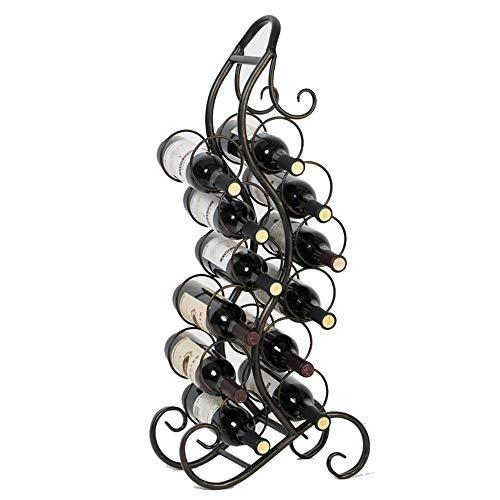 Weinregal-Verkaufsregal Rack-12 Flasche Wein aus Metall und Freistehende Boden Wein Storage Rack (Farbe : Schwarz, Größe : 84x37x18cm)