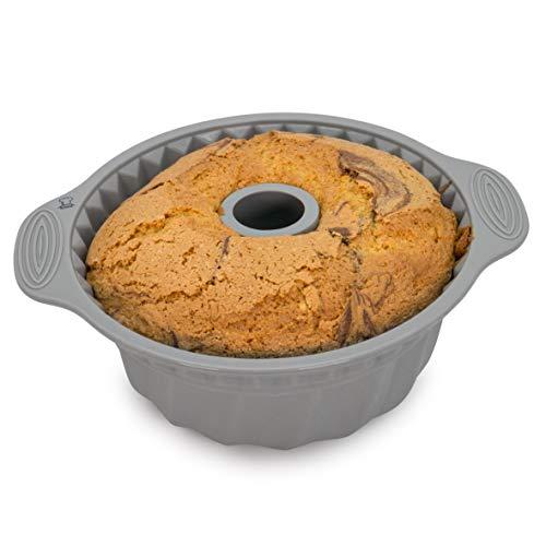 Backefix Gugelhupfform antihaft Backform aus Silikon - Napfkuchenform Kuchenform Gugelhupf Grau Ø 22cm Bundt Form Pan