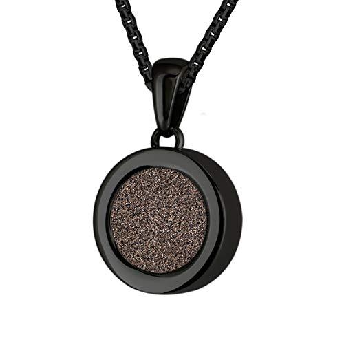 Quiges Schwarze Anhänger Edelstahl 12mm Mini Coin Halter und Kristall Braun Glitter Coin mit Kette 42 + 4cm Verlängerungskette