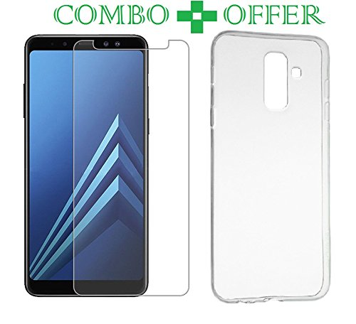 newest 3a874 7bbf3 Azzil Combo of Transparent Real 9H HD Full Gumming Tempered Glass Screen  Protector Guard and Back Case for Samsung Galaxy A6 Plus