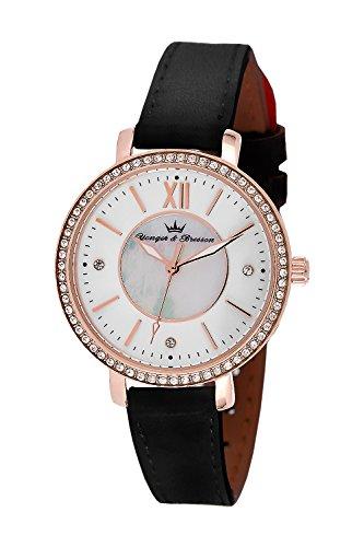 YONGER&BRESSON Femme Date Standard Quartz Montre avec Bracelet en Cuir DCR 049S/BA