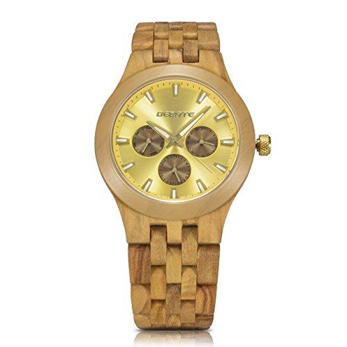 Bedate 145A Herren Retro Armbanduhr Quarzwerk Holz Uhr 10 mm Zifferblatt Dicke extrem leicht mit Wochentag und Datumsanzeige (Olivenholz)