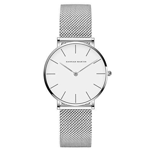Hannah Martin Damen Uhren Analog Quarz Edelstahl Wasserdicht Mesh Ultradünne (Weiß Oberfläche ,Silber Armband)