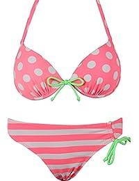 RAE Damen Bikini Bademode Badeanzug Zweiteiler Gepolstert Neckholder Top Slip Fransen