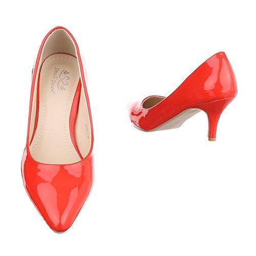 Klassische Pumps Damenschuhe Geschlossen Kleiner Trichter Klassische Ital-Design Pumps Rot