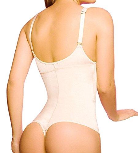 MISS MOLY Body Shaper|Damen Miederbody Stark Figurformender TaillenformerBauch Weg Schlanke Taille Shapewear Unterkleidung Brustfrei Prägnant Design Schwarz/Beige Beige