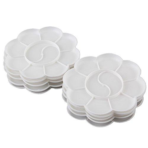 BQLZR Bianco 10Scomparti Griglie acquerello pittura in plastica disegno vassoio tavolozza per pittura, confezione da 10