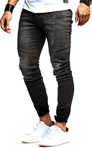 LEIF NELSON Herren Jeanshose Biker Jeans gesteppt Hose Stretch Schwarz Denim Slim Fit LN9920SC; W30L32, Blau