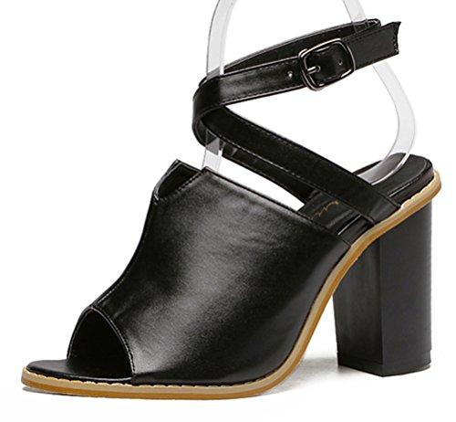 Easemax Damen Hübsch Peep Toe Schnalle Sandalen Mit Hohe Blockabsatz Schwarz 35 EU (Casual Womens Sandalen Importiert)