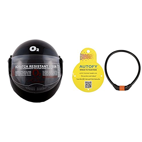 Autofy O2 Zed Full Face Flip Up Helmet (Black,M) and Autofy 4 Digits Universal Multi Purpose Steel Cable (Black and Orange) Bundle