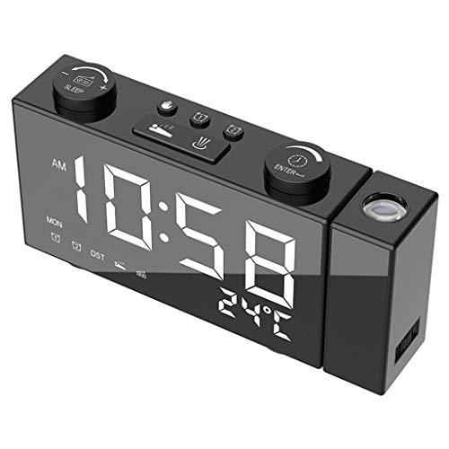 Kuvuiuee LED Digital FM Radio Projektionswecker Snooze Timer Temperaturanzeige mit USB Ladekabel Home Decor Kinderwecker - für Jungen und Mädchen - Lernwecker,Super Praktisch