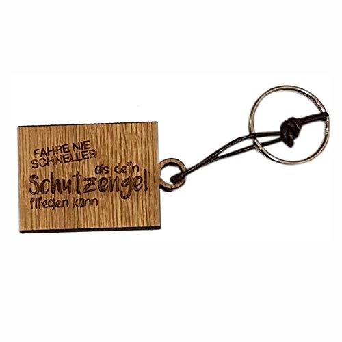 4you Design Holz eckiger Schlüsselanhänger Fahre nie schneller als Dein Schutzengel fliegen kann - Geschenk zum Führerschein - Führerschein Geschenk - süße Geschenkidee