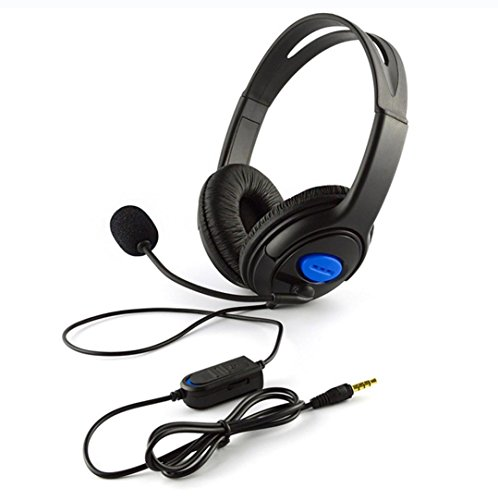 Thread_de PS4 Bilateral große Kopfhörer verdrahtete Gaming-Kopfhörer mit Mikrofon für PS4 PC Notebooks (schwarz)