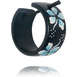 Madera Chic-Net aro Pendientes Pin pin pendientes de aro pendientes de coco madera damas resina flores joyas de Hawaii Azul
